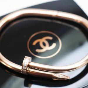 Jewelry - Rose Gold Gemstone Encrusted Nail Bracelet